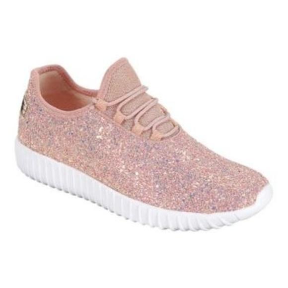 New Womens Dusty Rose Glitter Sneakers